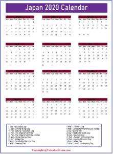 Japan 2020 Public Holidays