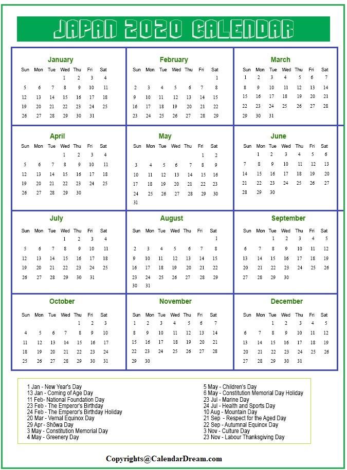 Japan Calendar 2020 Printable