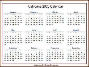 Printable 2020 California Calendar