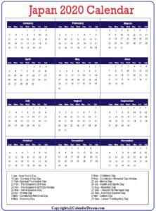 Printable Calendar 2020 with Japanese Holidays