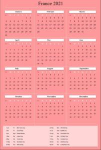 Printable Calendar 2021 France