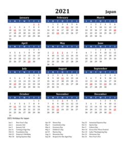 Printable Calendar 2021 with Japanese Holidays