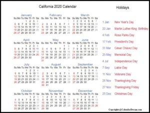Public Holidays in California 2020
