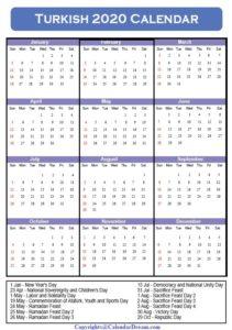 Turkey Holidays 2020 Calendar