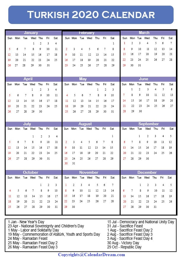 Turkey Holidays 2020 Calendar