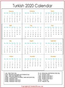 Turkish 2020 Calendar