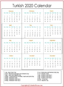 Turkish 2020 Calendar