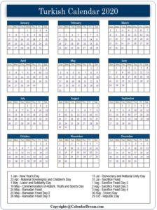 Turkish Calendar 2020