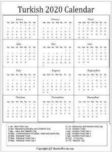 Turkish Calendar with Holidays 2020