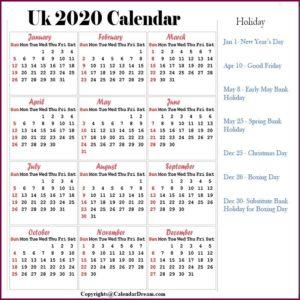 UK 2020 Calendar