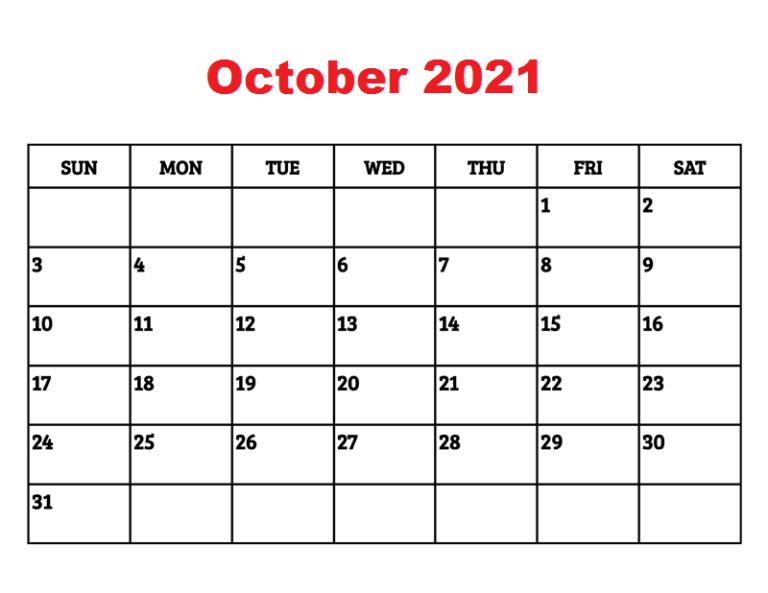 Blank 2021 October Printable Calendar Template in PDF ...