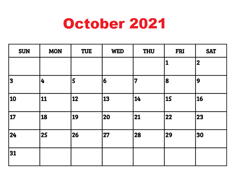 2021 October Calendar PDF
