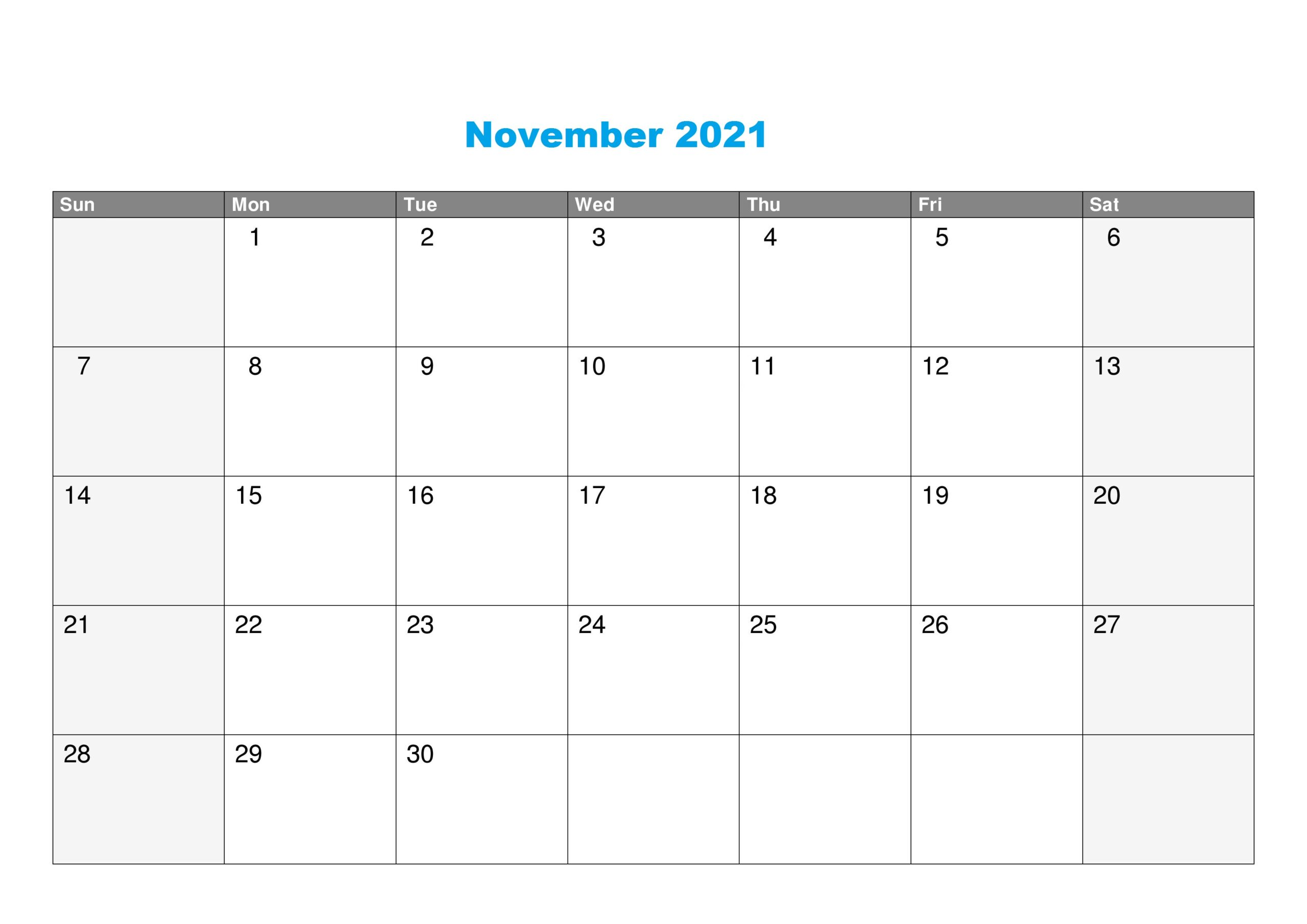 Free Printable November 2021 Calendar Blank Template In ...