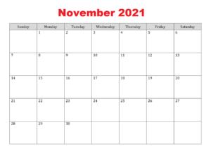 November 2021 Calendar Word & Excel