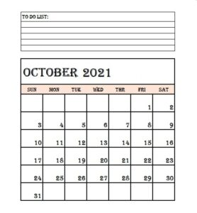 October 2021 Calendar With Notes