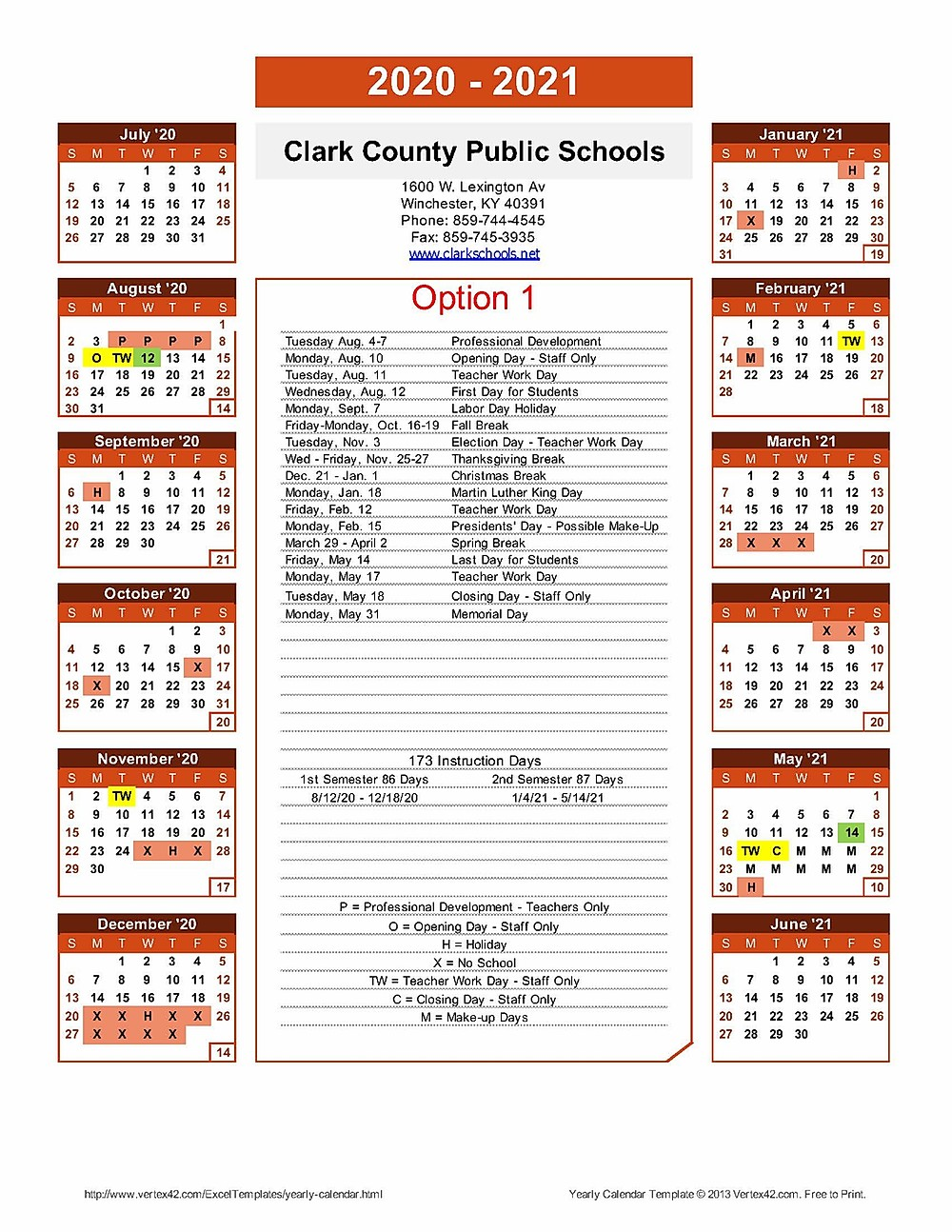 Greater Clark County School Calendar
