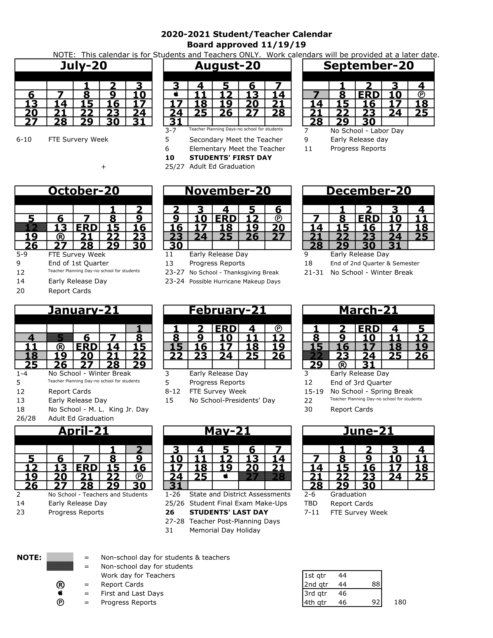 Pasco County School District Calendar