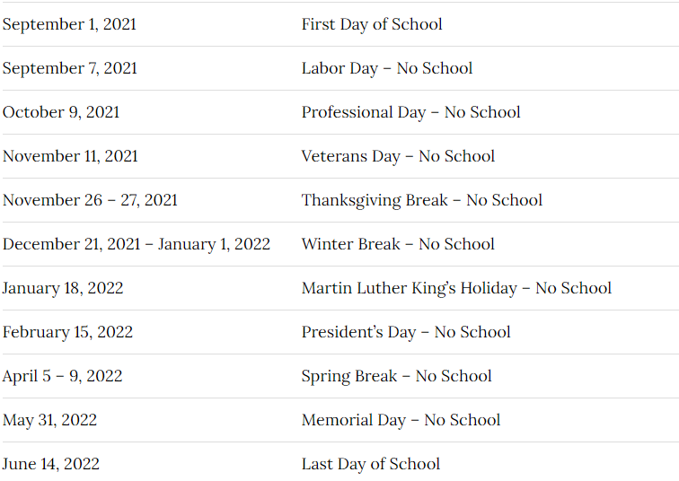 Pasco School District Calendar