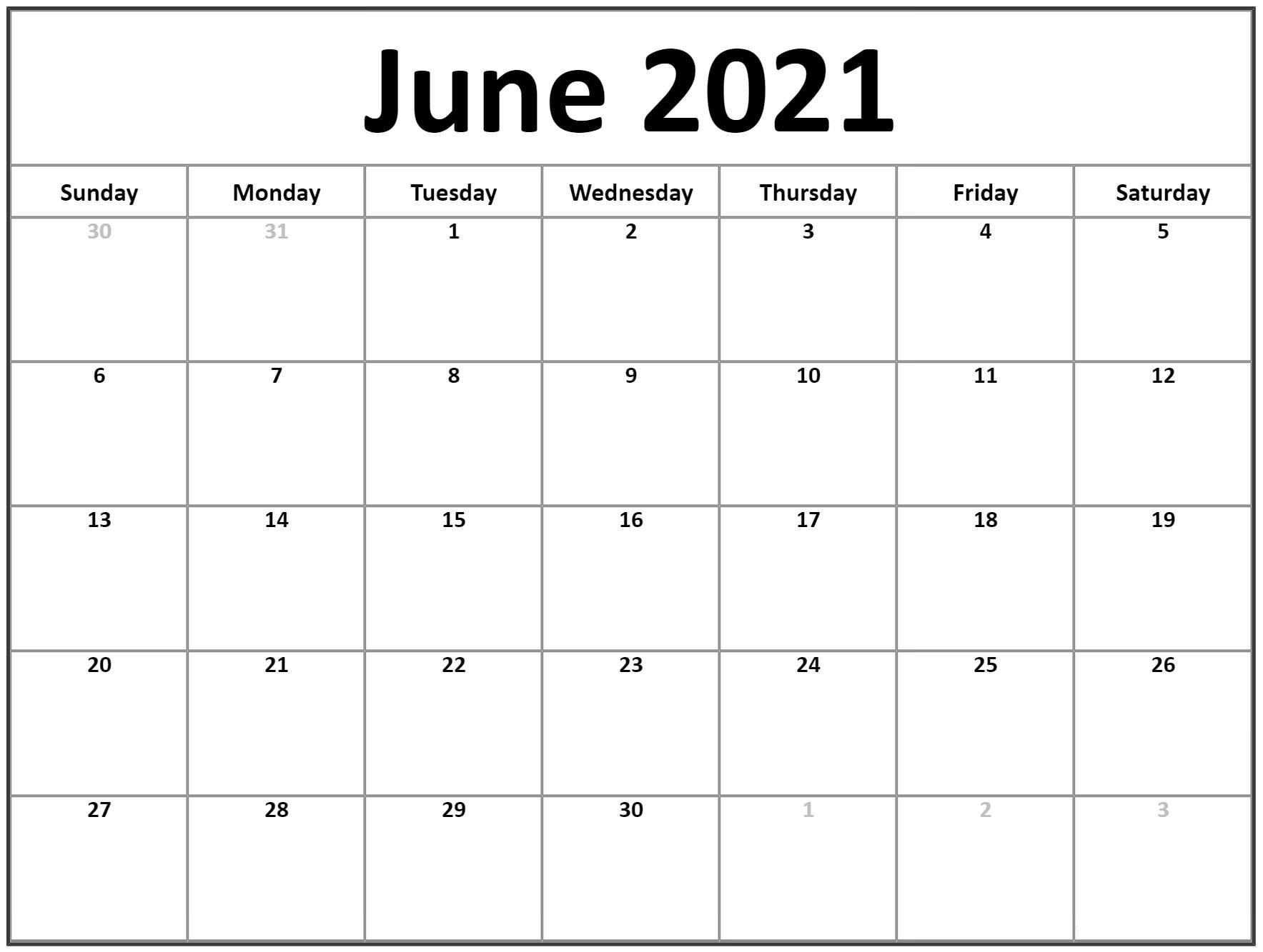 2021 June Blank Calendar