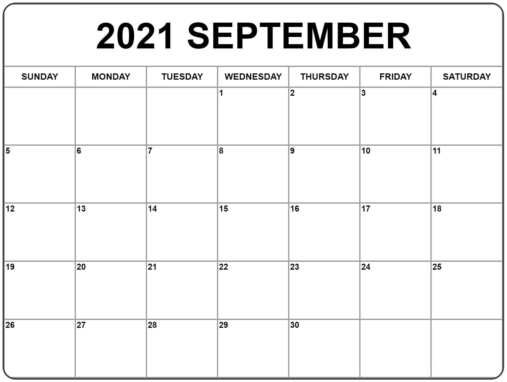 2021 September Calendar PDF