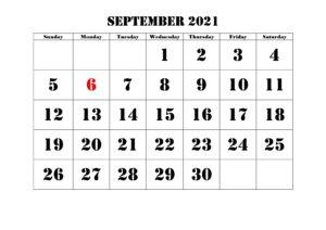 2021 September Calendar Template
