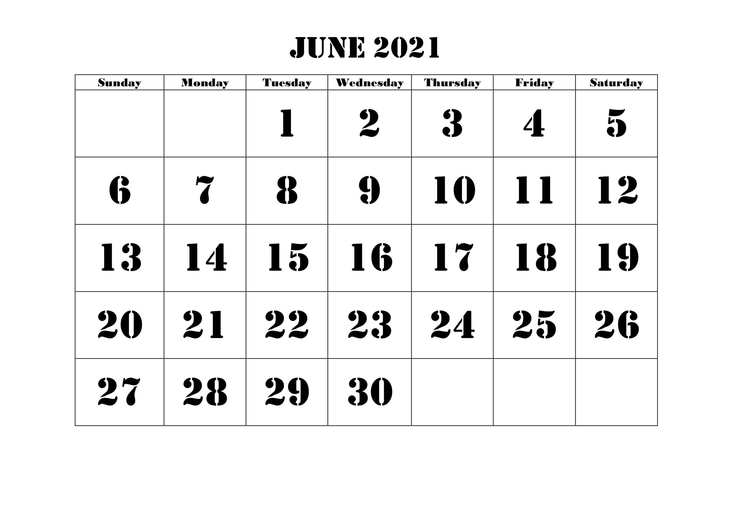 Free Blank June 2021 Printable Calendar Template [PDF ...
