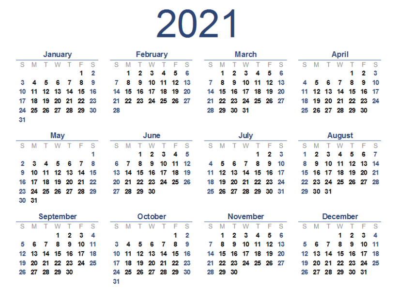 2021 Calendar One Page