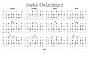 2021 California Calendar Public Holidays