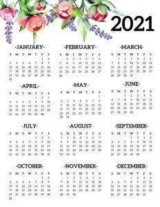 2021 Editable Calendar One Page