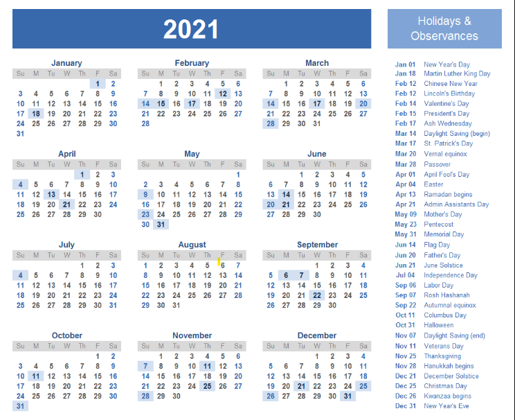2021 Monthly One Page Printable Calendar