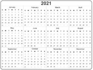 Blank Calendar 2021 Template