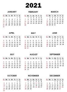 Editable Calendar 2021