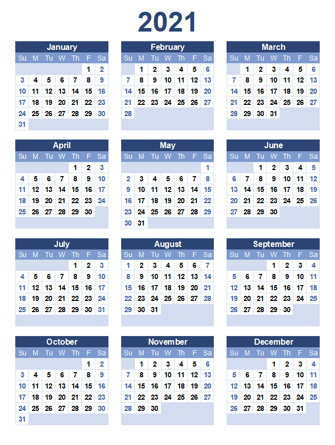 Free Yearly 2021 Printable Calendar
