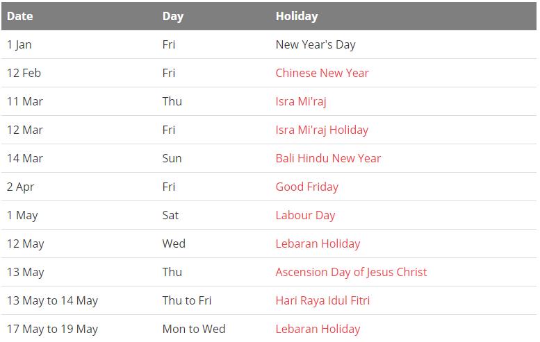 Indonesia 2021 Calendar With Holidays