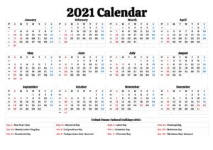 Printable 2021 California Calendar