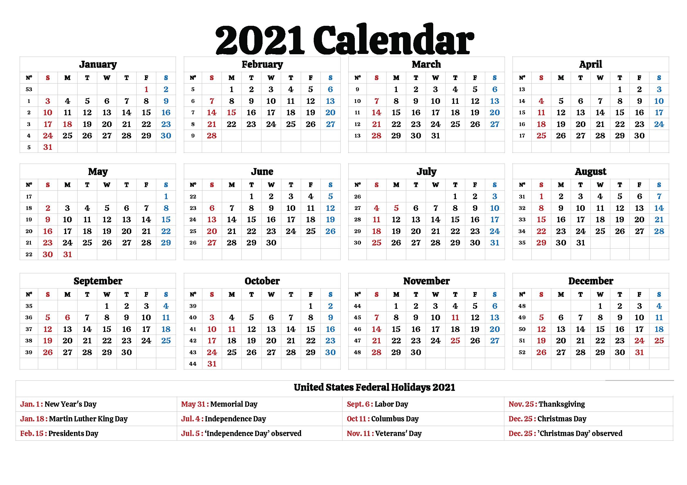 Free 2021 California Printable Calendar with Holidays [PDF ...
