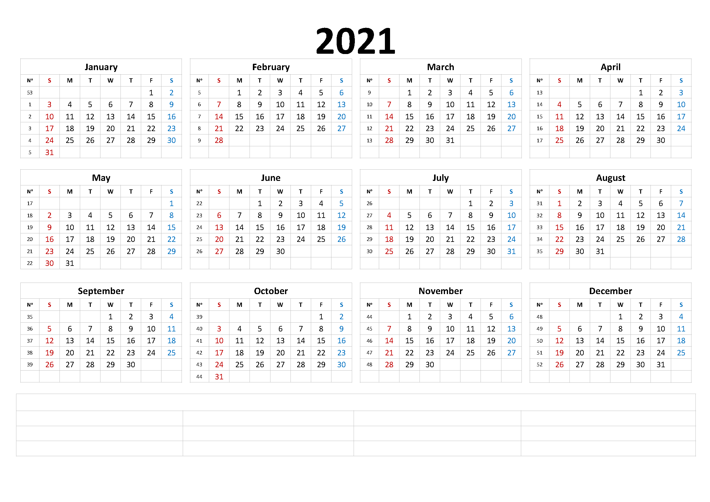 Printable 2021 Monthly Calendar