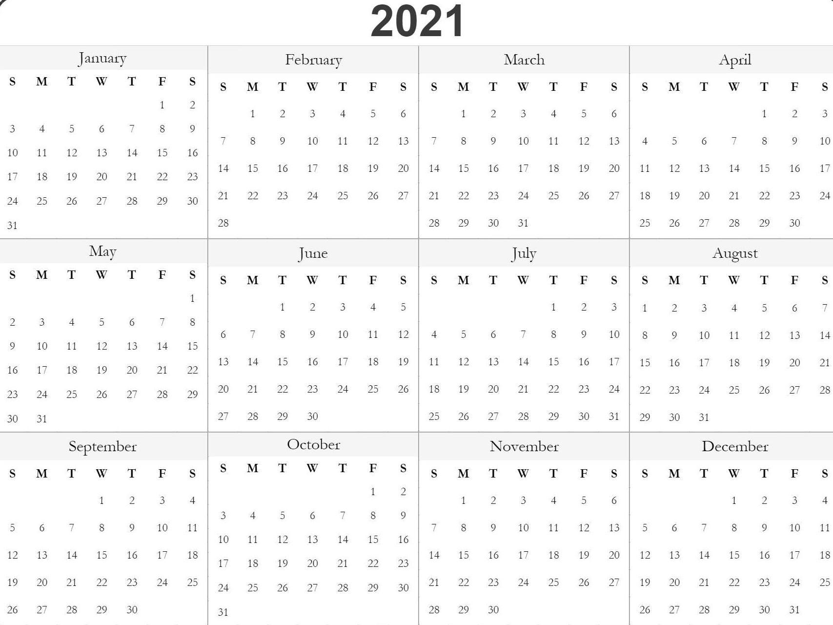 Printable Blank Yearly 2021 Calendar Template [PDF] | Calendar Dream