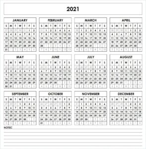 Printable Calendar 2021 with Month