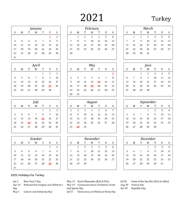 Turkey Holidays 2021 Calendar