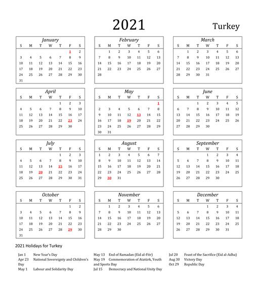 Turkey Holidays 2021 Calendar