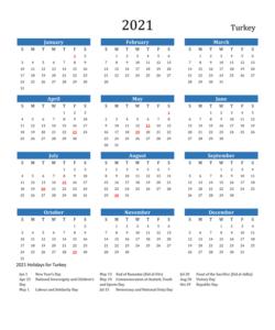 Turkish 2021 Calendar