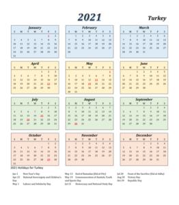 Turkish 2021 Printable Calendar