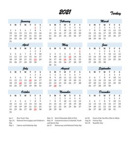 Turkish Calendar with Holidays 2021