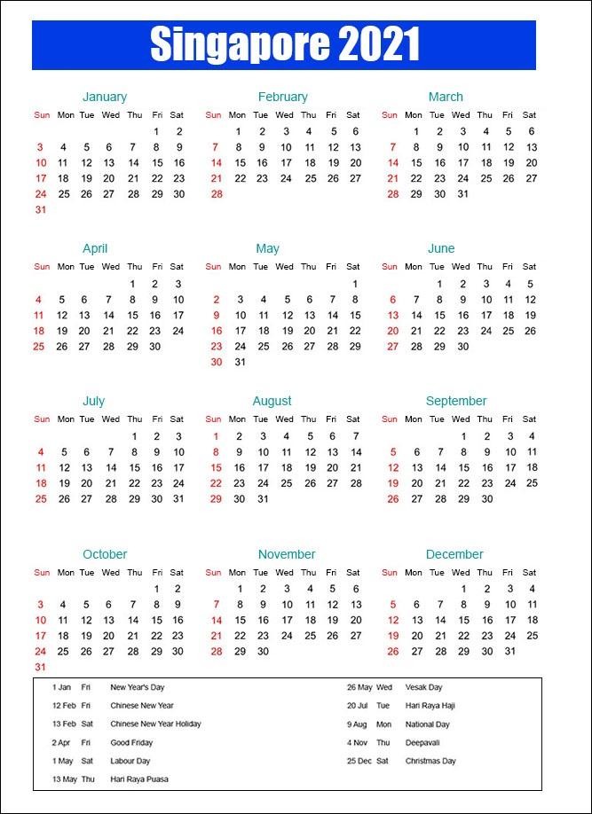 Calendar 2021 Singapore