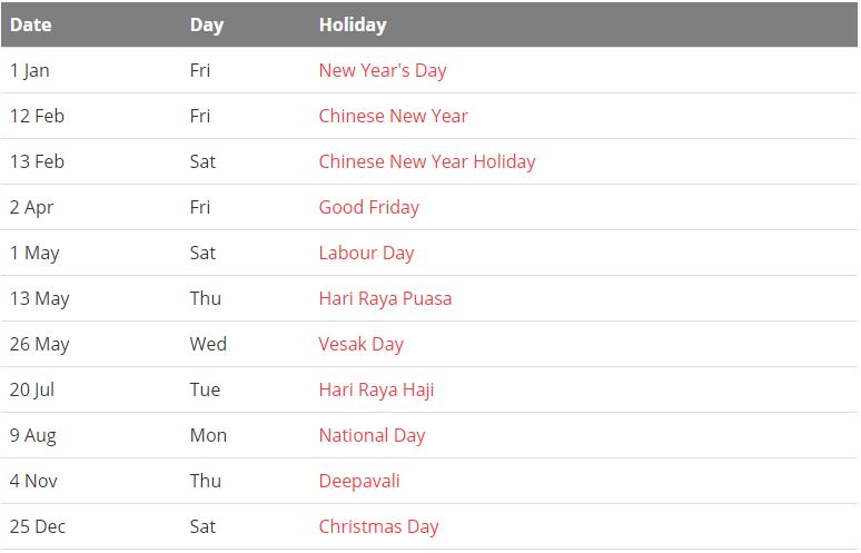 Singapore 2021 Calendar with Holidays