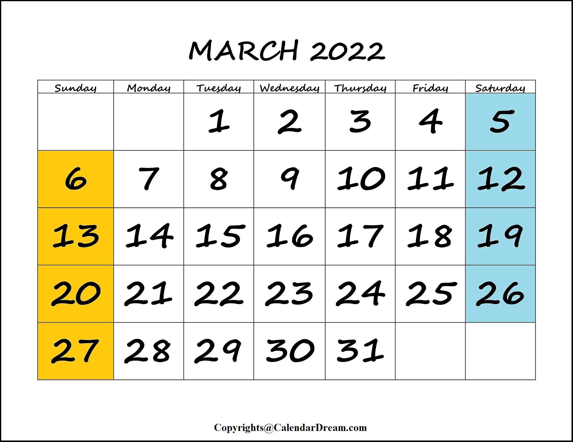 2022 March Calendar
