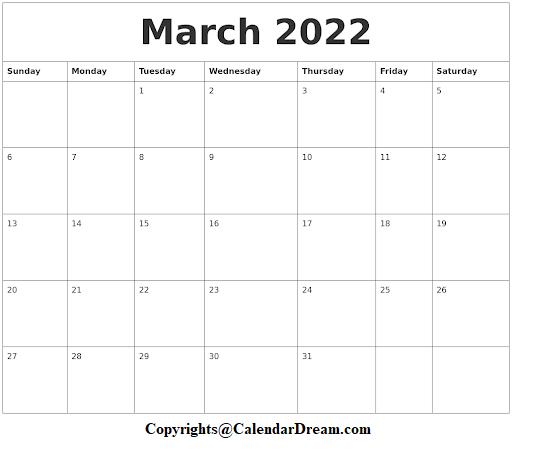 March 2022 Calendar Printable