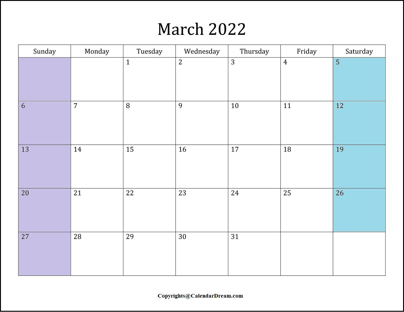 March 2022 Calendar Template
