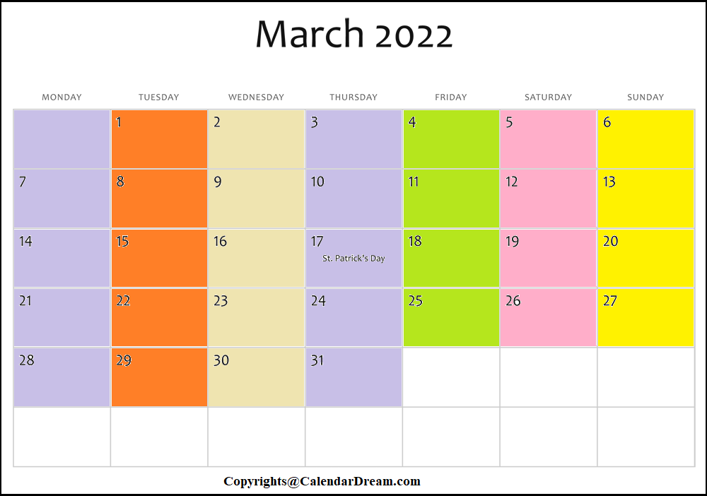 March Calendar 2022 with Notes